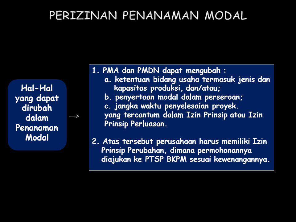 Hal-Hal yang dapat dirubah dalam Penanaman Modal 1.PMA dan PMDN dapat mengubah : a. ketentuan bidang usaha termasuk jenis dan kapasitas produksi, dan/