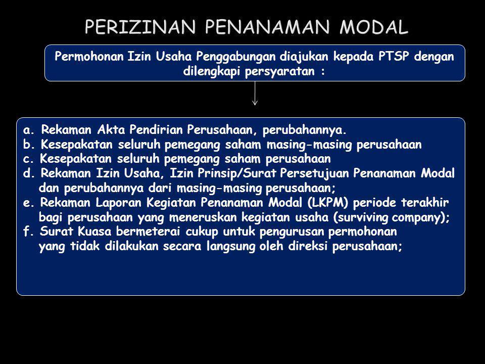 Permohonan Izin Usaha Penggabungan diajukan kepada PTSP dengan dilengkapi persyaratan : a.Rekaman Akta Pendirian Perusahaan, perubahannya. b. Kesepaka
