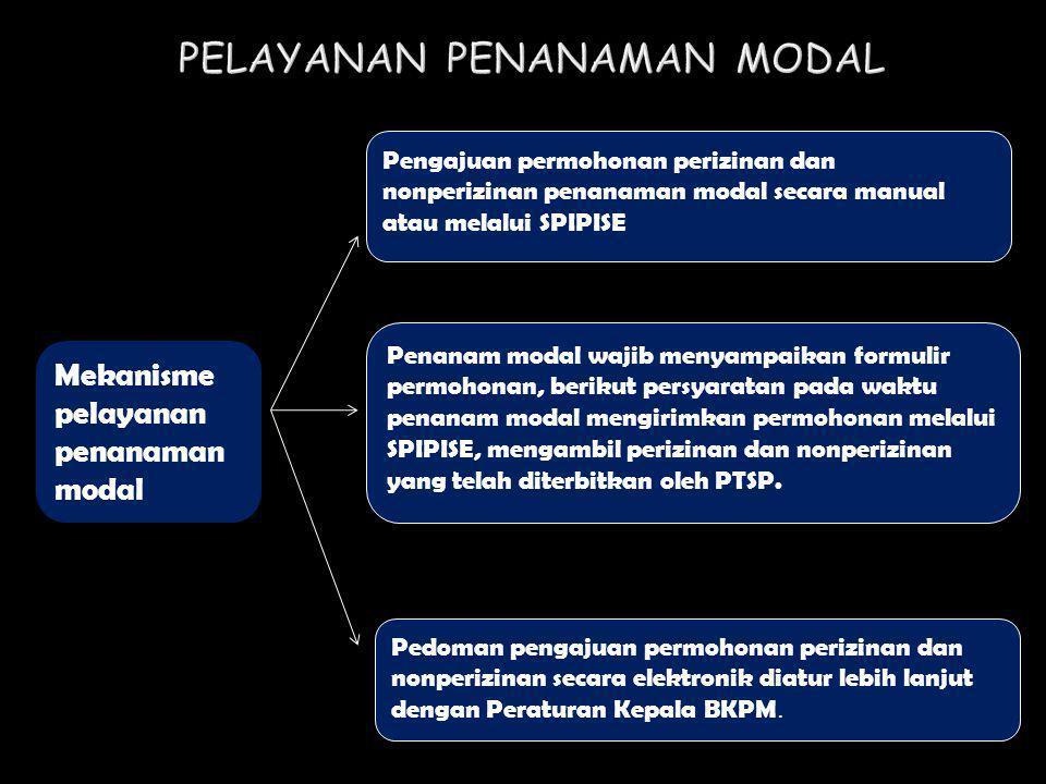 Mekanisme pelayanan penanaman modal Pengajuan permohonan perizinan dan nonperizinan penanaman modal secara manual atau melalui SPIPISE Penanam modal w