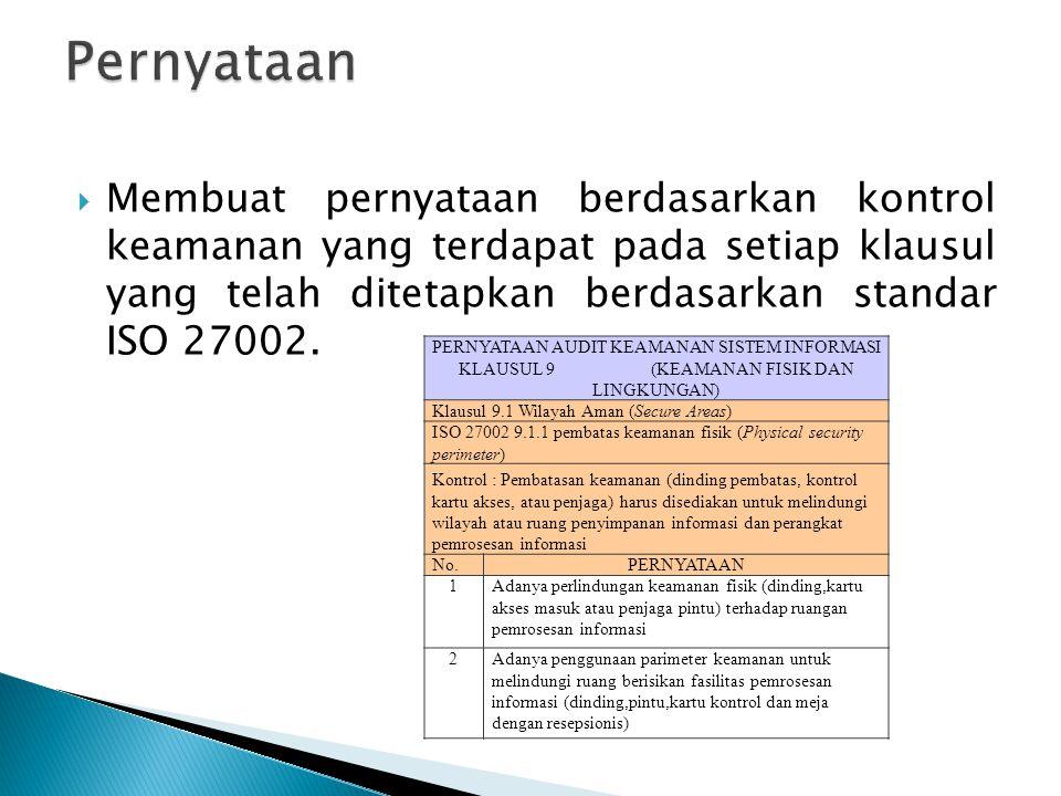  Membuat pernyataan berdasarkan kontrol keamanan yang terdapat pada setiap klausul yang telah ditetapkan berdasarkan standar ISO 27002. PERNYATAAN AU
