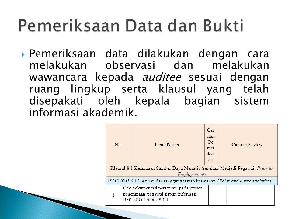  Pemeriksaan data dilakukan dengan cara melakukan observasi dan melakukan wawancara kepada auditee sesuai dengan ruang lingkup serta klausul yang tel