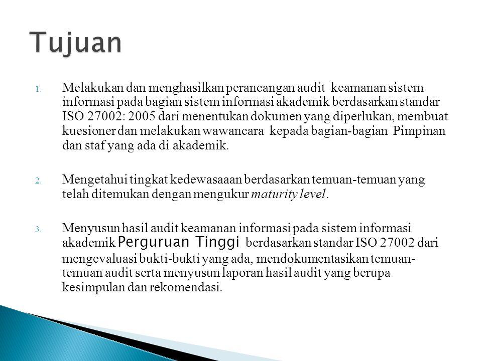 1. Melakukan dan menghasilkan perancangan audit keamanan sistem informasi pada bagian sistem informasi akademik berdasarkan standar ISO 27002: 2005 da