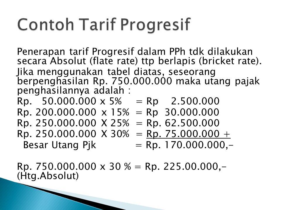 Penerapan tarif Progresif dalam PPh tdk dilakukan secara Absolut (flate rate) ttp berlapis (bricket rate). Jika menggunakan tabel diatas, seseorang be