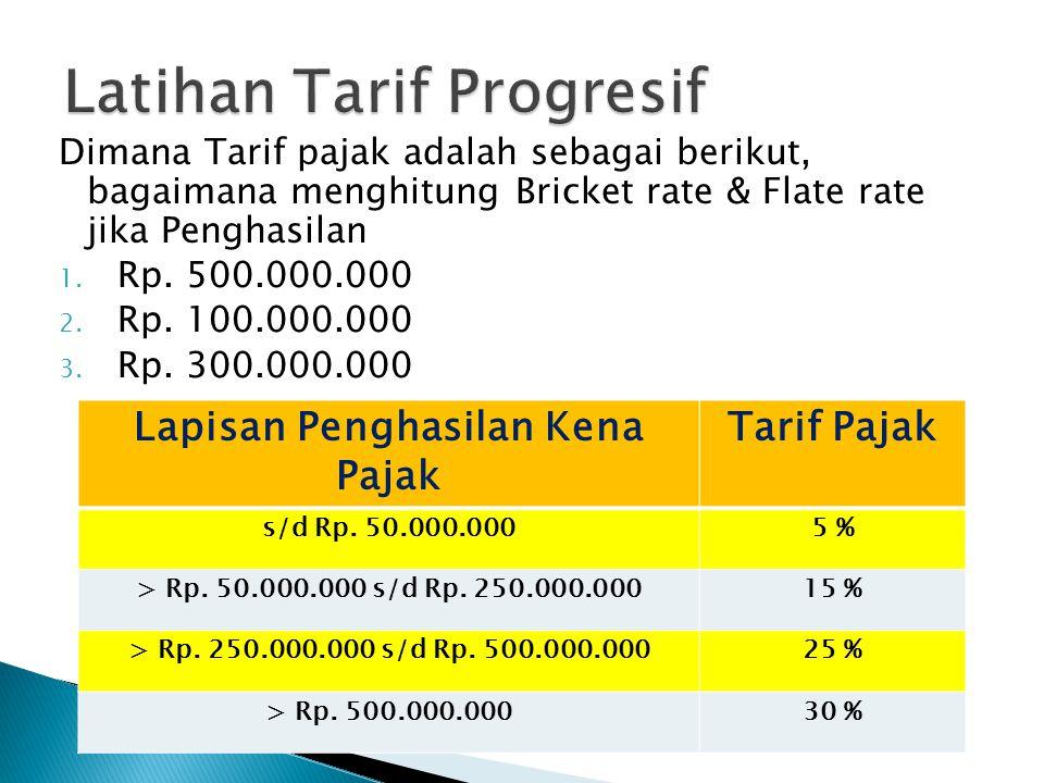 Dimana Tarif pajak adalah sebagai berikut, bagaimana menghitung Bricket rate & Flate rate jika Penghasilan 1. Rp. 500.000.000 2. Rp. 100.000.000 3. Rp