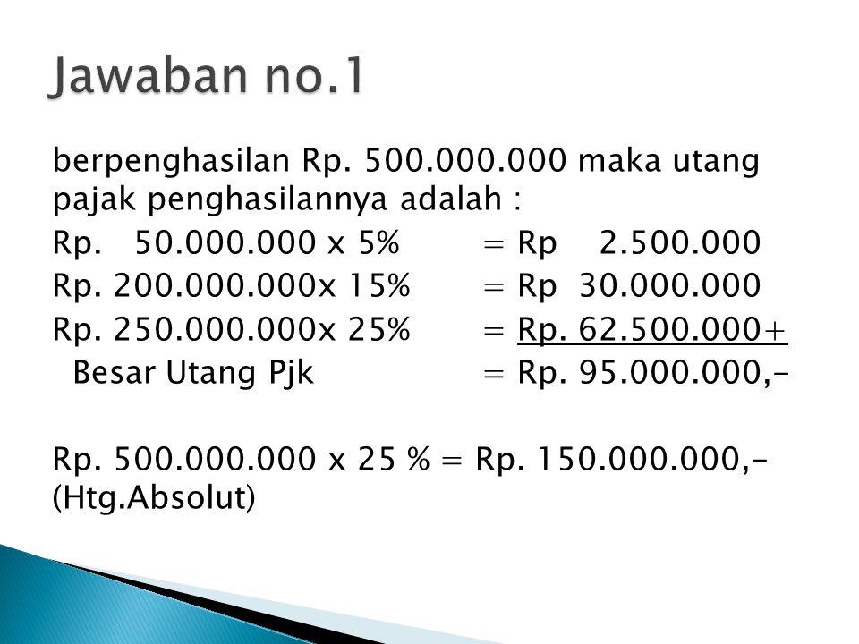 berpenghasilan Rp. 500.000.000 maka utang pajak penghasilannya adalah : Rp. 50.000.000 x 5%= Rp 2.500.000 Rp. 200.000.000x 15%= Rp 30.000.000 Rp. 250.