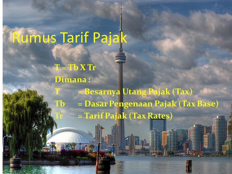 Rumus Tarif Pajak T = Tb X Tr Dimana : T = Besarnya Utang Pajak (Tax) Tb = Dasar Pengenaan Pajak (Tax Base) Tr = Tarif Pajak (Tax Rates)