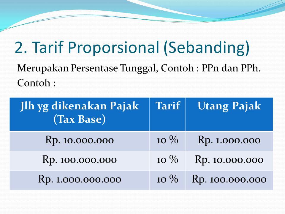 2. Tarif Proporsional (Sebanding) Merupakan Persentase Tunggal, Contoh : PPn dan PPh. Contoh : Jlh yg dikenakan Pajak (Tax Base) TarifUtang Pajak Rp.