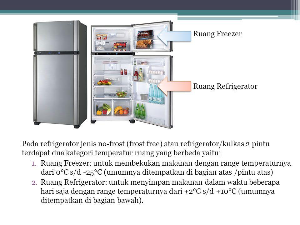 Pada refrigerator jenis no-frost (frost free) atau refrigerator/kulkas 2 pintu terdapat dua kategori temperatur ruang yang berbeda yaitu: 1.Ruang Free