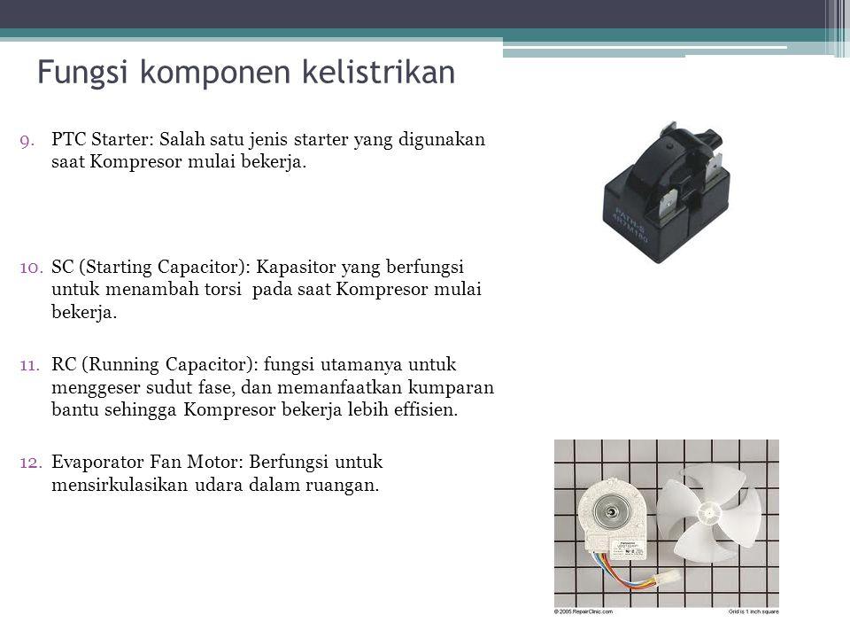 Fungsi komponen kelistrikan 9.PTC Starter: Salah satu jenis starter yang digunakan saat Kompresor mulai bekerja. 10.SC (Starting Capacitor): Kapasitor