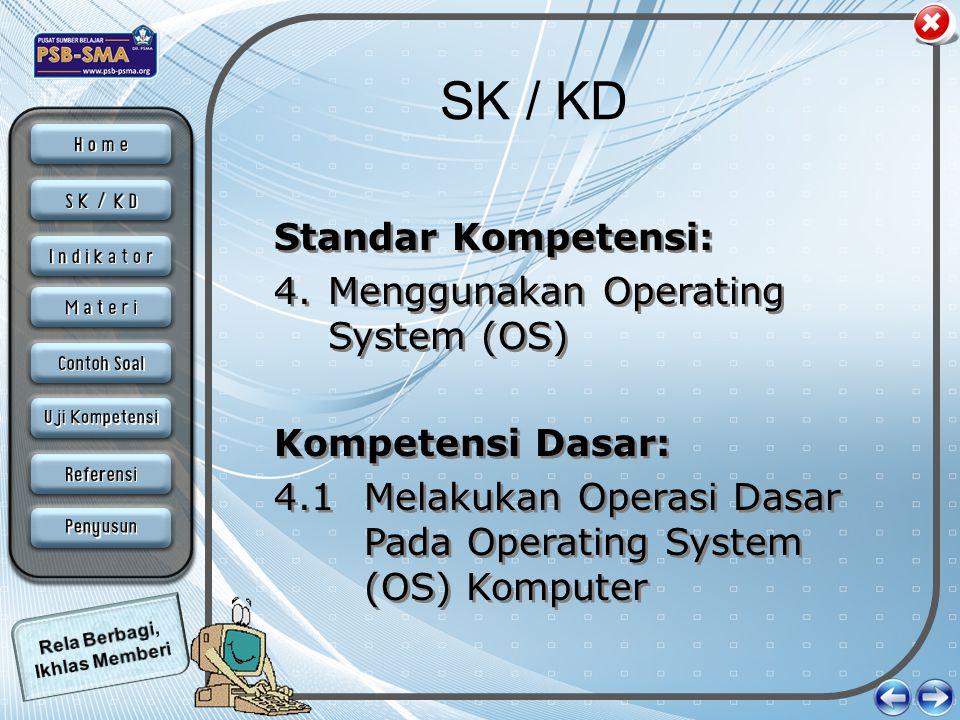 SK / KD Standar Kompetensi: 4.Menggunakan Operating System (OS) Kompetensi Dasar: 4.1 Melakukan Operasi Dasar Pada Operating System (OS) Komputer Stan