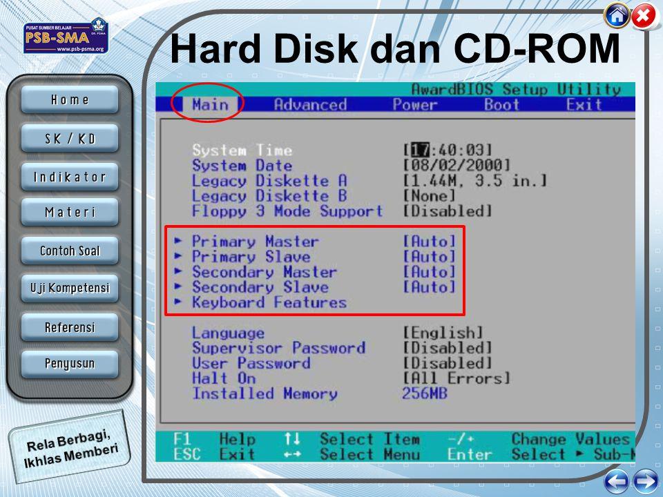 Floppy disk Untuk mengatur floopy disk terletak dalam menu yang sama seperti hardisk dan CD- ROM.