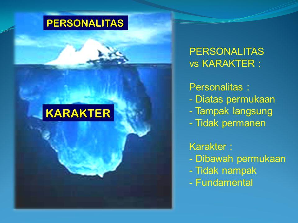 PERSONALITAS KARAKTER PERSONALITAS vs KARAKTER : Personalitas : - Diatas permukaan - Tampak langsung - Tidak permanen Karakter : - Dibawah permukaan - Tidak nampak - Fundamental