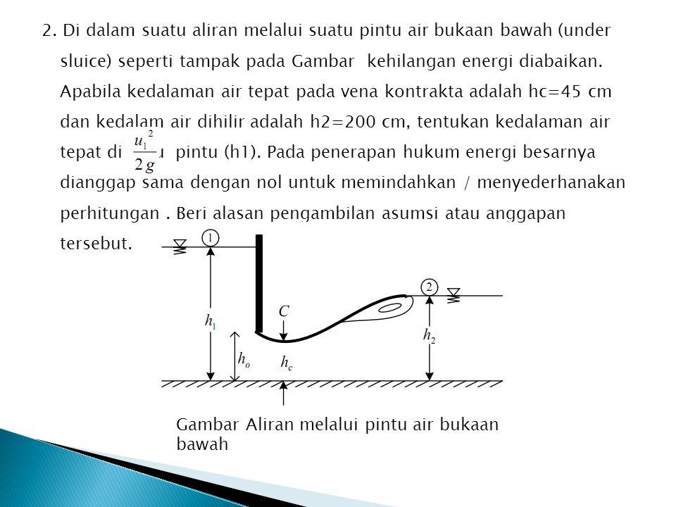 2. Di dalam suatu aliran melalui suatu pintu air bukaan bawah (under sluice) seperti tampak pada Gambar kehilangan energi diabaikan. Apabila kedalaman