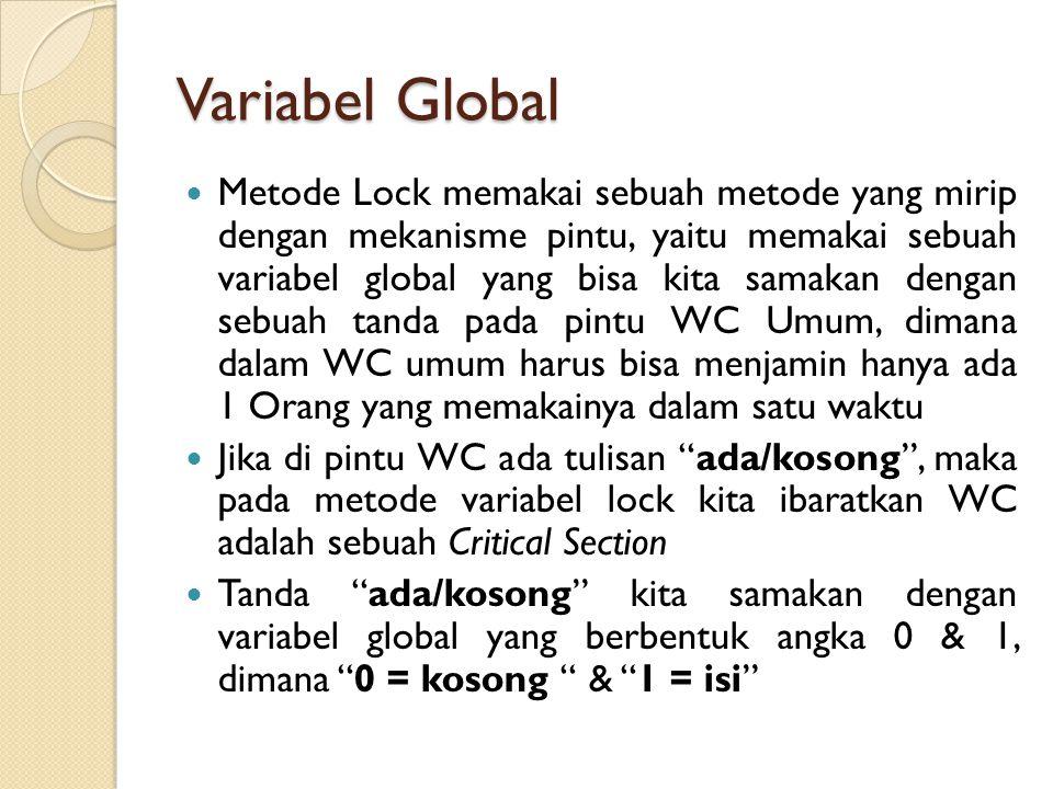 Variabel Global  Metode Lock memakai sebuah metode yang mirip dengan mekanisme pintu, yaitu memakai sebuah variabel global yang bisa kita samakan den