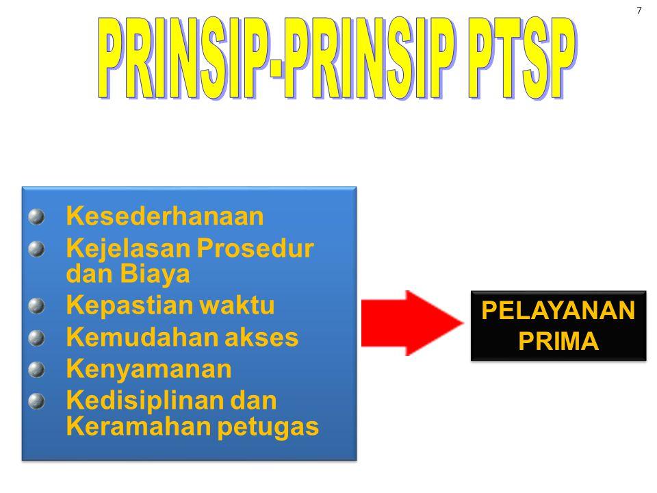 APA ITU PTSP Penyelenggaraan perizinan mulai dari tahap permohonan sampai penerbitan dokumen dilakukan secara terpadu dalam satu tempat •Pemangkasan t
