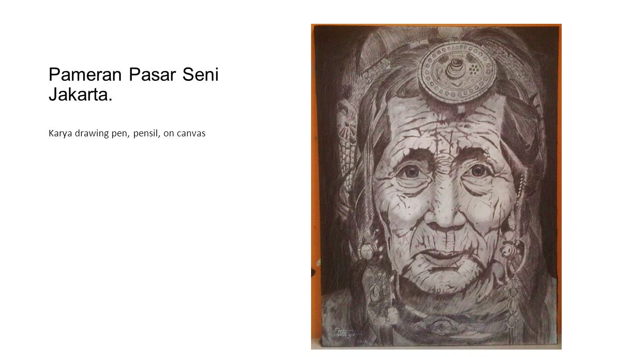 Pameran Pasar Seni Jakarta. Karya drawing pen, pensil, on canvas