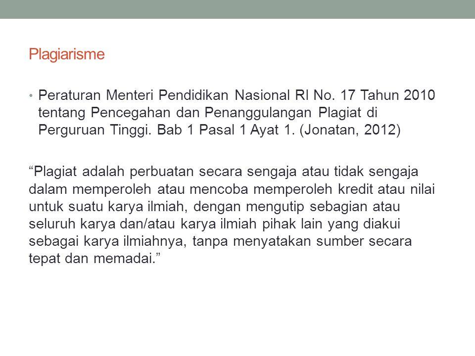 Plagiarisme • Peraturan Menteri Pendidikan Nasional RI No.