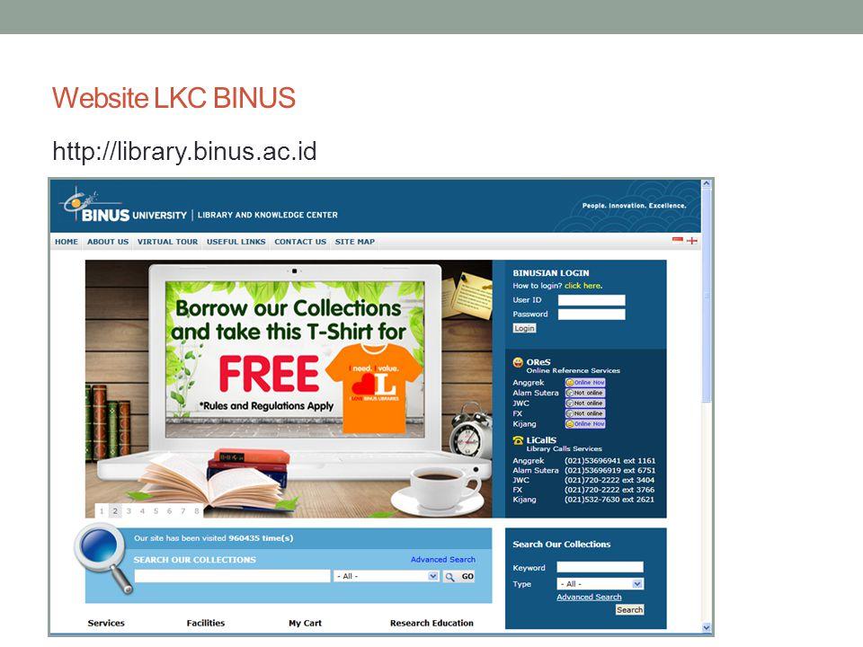 Website LKC BINUS http://library.binus.ac.id