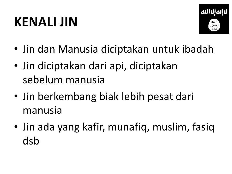 KENALI JIN • Jin dan Manusia diciptakan untuk ibadah • Jin diciptakan dari api, diciptakan sebelum manusia • Jin berkembang biak lebih pesat dari manu