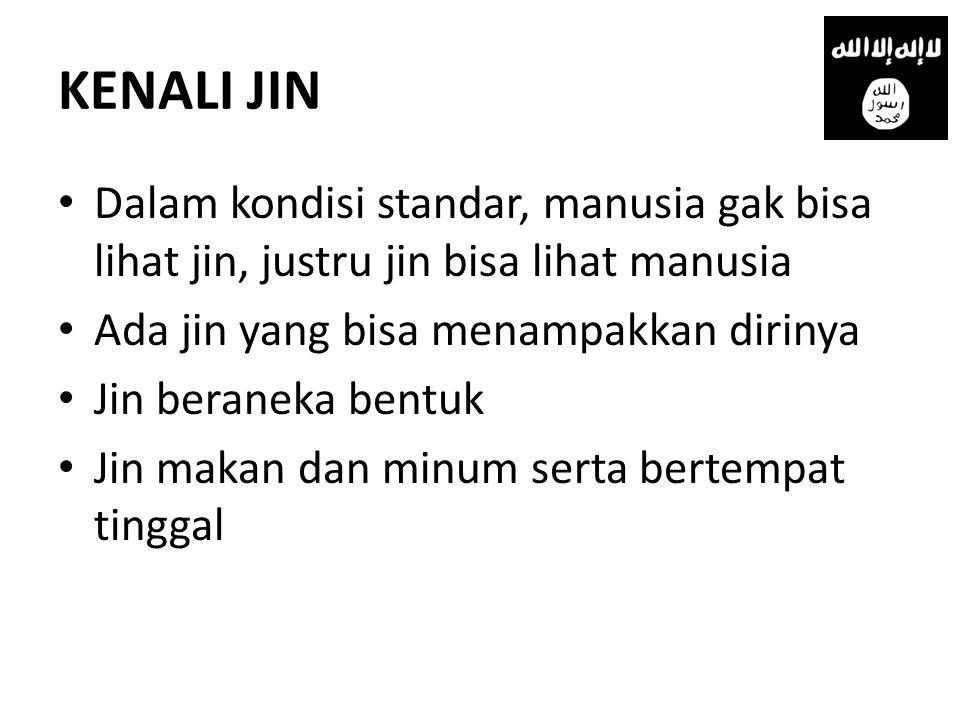 KENALI JIN • Dalam kondisi standar, manusia gak bisa lihat jin, justru jin bisa lihat manusia • Ada jin yang bisa menampakkan dirinya • Jin beraneka bentuk • Jin makan dan minum serta bertempat tinggal