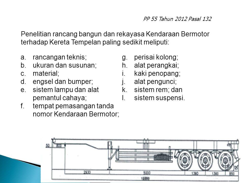 PP 55 Tahun 2012 Pasal 132 a.rancangan teknis; b.ukuran dan susunan; c.material; d.engsel dan bumper; e.sistem lampu dan alat pemantul cahaya; f.tempa