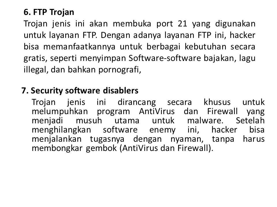 6. FTP Trojan Trojan jenis ini akan membuka port 21 yang digunakan untuk layanan FTP. Dengan adanya layanan FTP ini, hacker bisa memanfaatkannya untuk