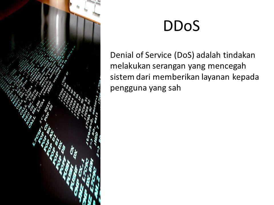 DDoS Denial of Service (DoS) adalah tindakan melakukan serangan yang mencegah sistem dari memberikan layanan kepada pengguna yang sah