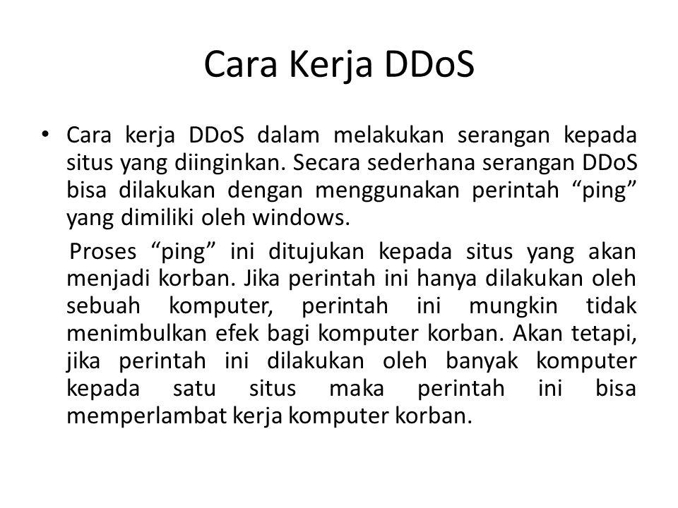 Cara Kerja DDoS • Cara kerja DDoS dalam melakukan serangan kepada situs yang diinginkan. Secara sederhana serangan DDoS bisa dilakukan dengan mengguna