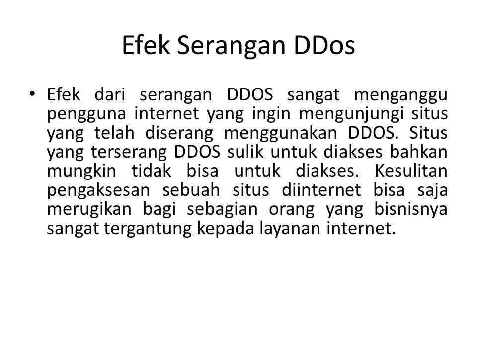 Efek Serangan DDos • Efek dari serangan DDOS sangat menganggu pengguna internet yang ingin mengunjungi situs yang telah diserang menggunakan DDOS.