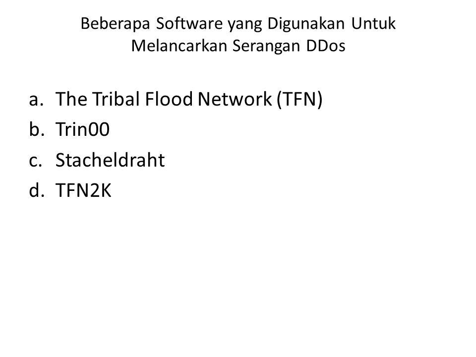 Beberapa Software yang Digunakan Untuk Melancarkan Serangan DDos a.The Tribal Flood Network (TFN) b.Trin00 c.Stacheldraht d.TFN2K