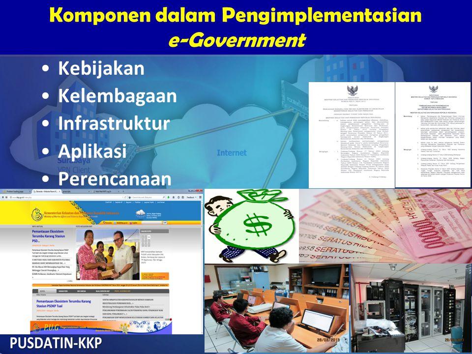 Komponen dalam Pengimplementasian e-Government Komponen dalam Pengimplementasian e-Government •Kebijakan •Kelembagaan •Infrastruktur •Aplikasi •Perenc