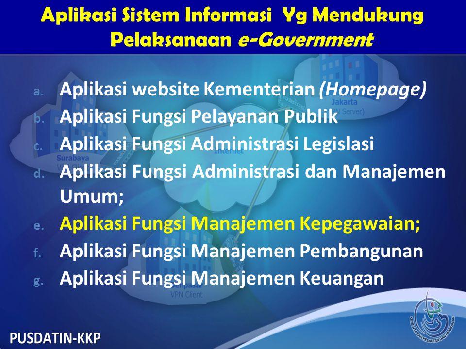 a. Aplikasi website Kementerian (Homepage) b. Aplikasi Fungsi Pelayanan Publik c. Aplikasi Fungsi Administrasi Legislasi d. Aplikasi Fungsi Administra