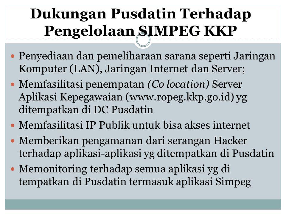 Dukungan Pusdatin Terhadap Pengelolaan SIMPEG KKP  Penyediaan dan pemeliharaan sarana seperti Jaringan Komputer (LAN), Jaringan Internet dan Server;