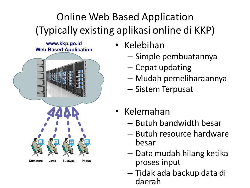 Online Web Based Application (Typically existing aplikasi online di KKP) • Kelebihan – Simple pembuatannya – Cepat updating – Mudah pemeliharaannya –