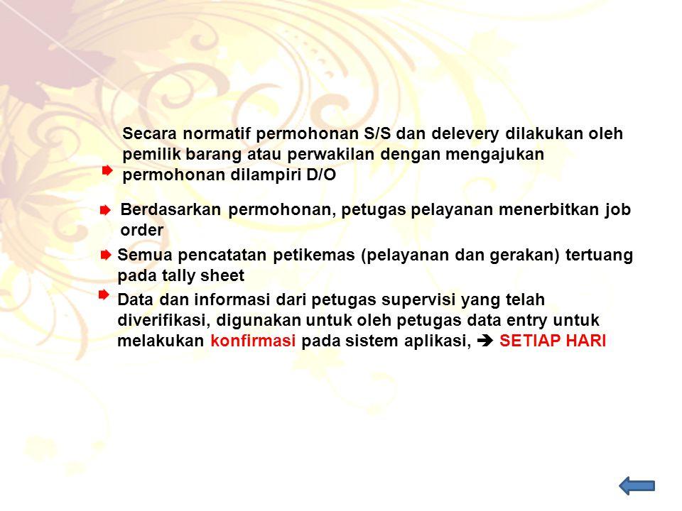 Semua pencatatan petikemas (pelayanan dan gerakan) tertuang pada tally sheet Data dan informasi dari petugas supervisi yang telah diverifikasi, diguna