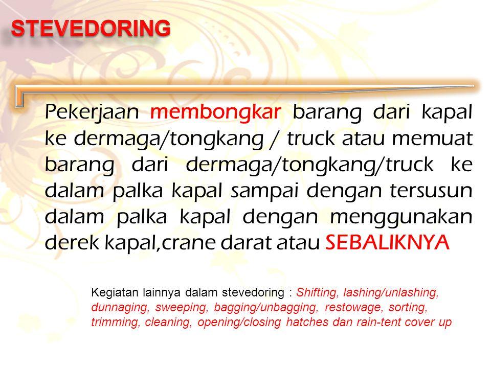 Pekerjaan membongkar barang dari kapal ke dermaga/tongkang / truck atau memuat barang dari dermaga/tongkang/truck ke dalam palka kapal sampai dengan t
