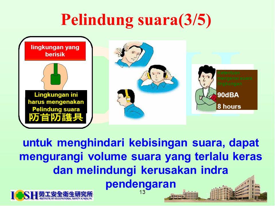 13 untuk menghindari kebisingan suara, dapat mengurangi volume suara yang terlalu keras dan melindungi kerusakan indra pendengaran Lingkungan ini haru