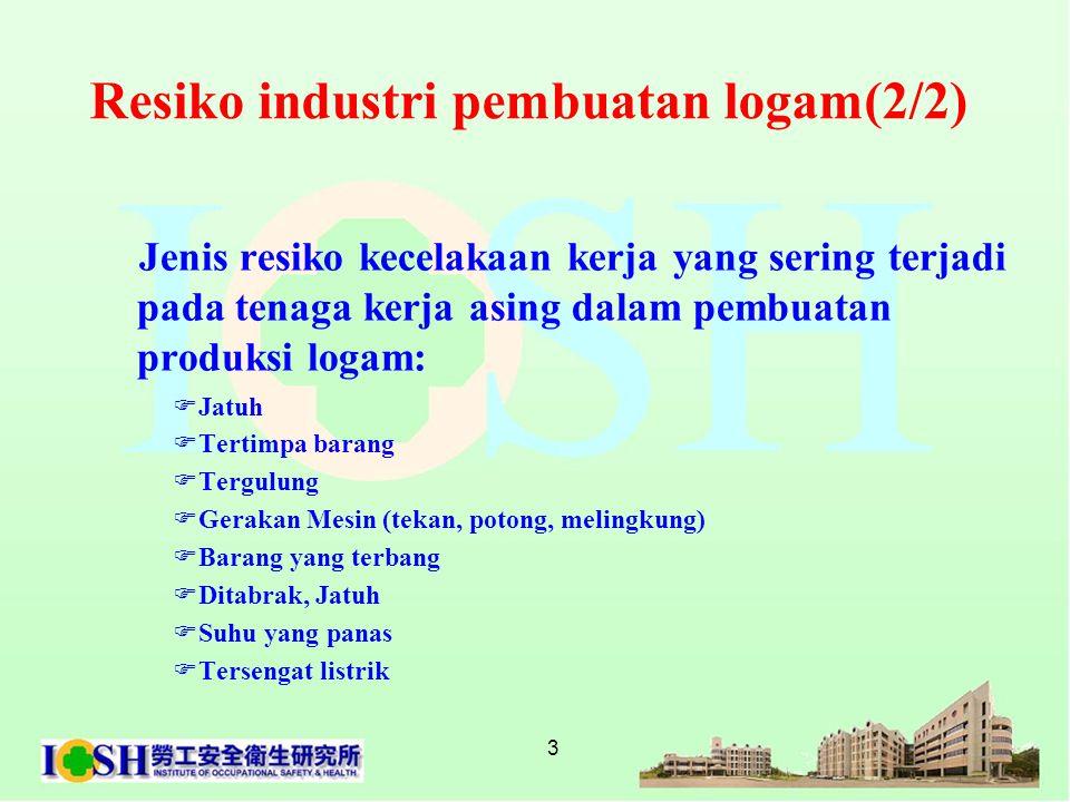 3 Resiko industri pembuatan logam(2/2) Jenis resiko kecelakaan kerja yang sering terjadi pada tenaga kerja asing dalam pembuatan produksi logam:  Jat