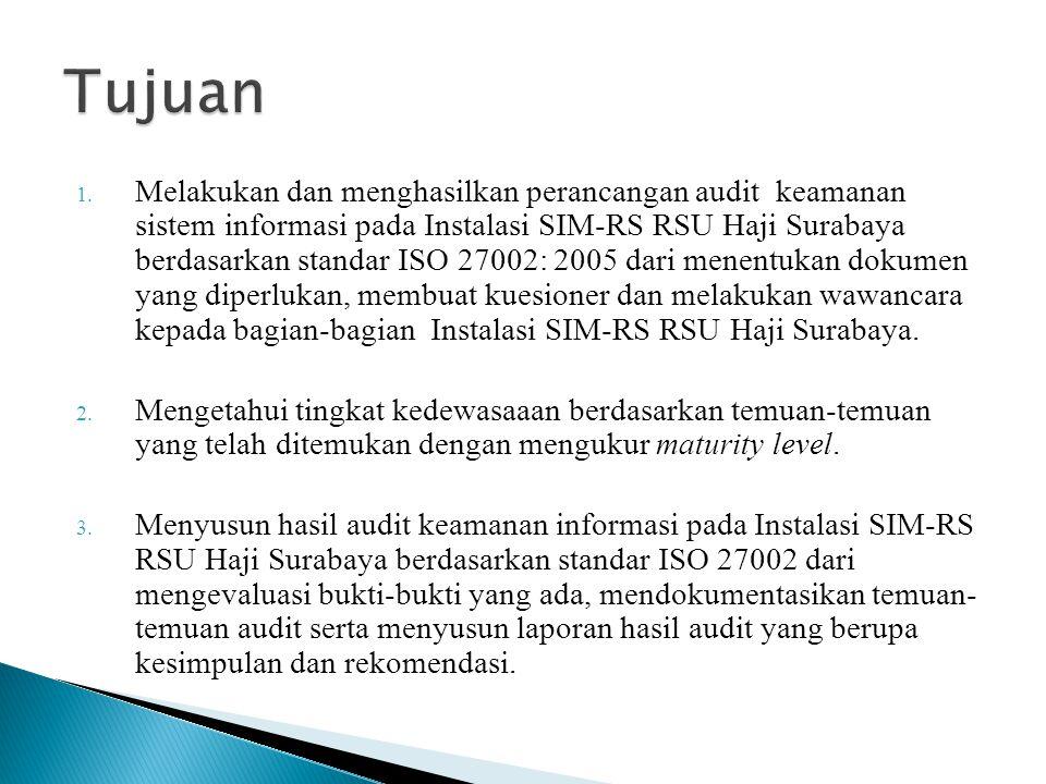1. Melakukan dan menghasilkan perancangan audit keamanan sistem informasi pada Instalasi SIM-RS RSU Haji Surabaya berdasarkan standar ISO 27002: 2005