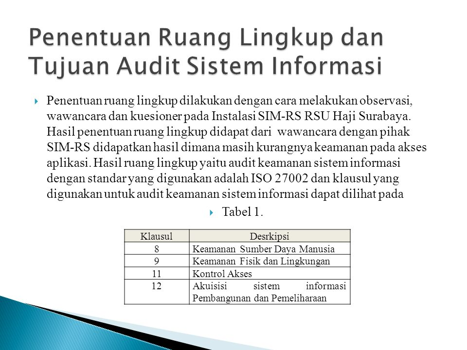  Penentuan ruang lingkup dilakukan dengan cara melakukan observasi, wawancara dan kuesioner pada Instalasi SIM-RS RSU Haji Surabaya. Hasil penentuan