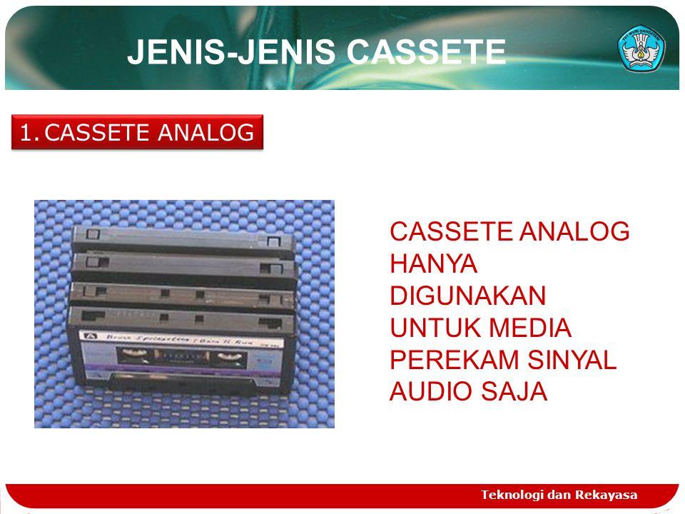 Teknologi dan Rekayasa JENIS-JENIS CASSETE 1.CASSETE ANALOG CASSETE ANALOG HANYA DIGUNAKAN UNTUK MEDIA PEREKAM SINYAL AUDIO SAJA