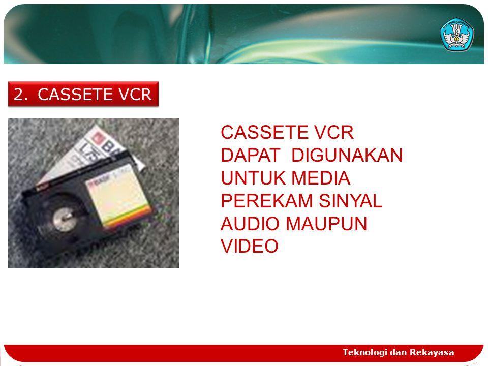 Teknologi dan Rekayasa 2.CASSETE VCR CASSETE VCR DAPAT DIGUNAKAN UNTUK MEDIA PEREKAM SINYAL AUDIO MAUPUN VIDEO