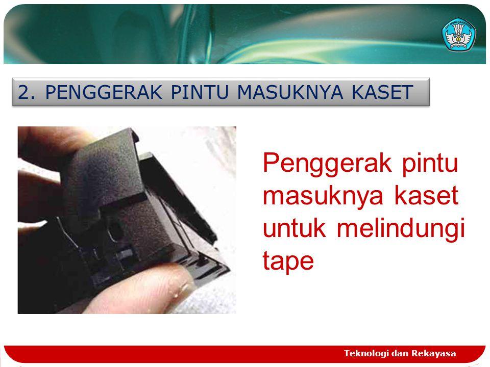 Teknologi dan Rekayasa 2.PENGGERAK PINTU MASUKNYA KASET Penggerak pintu masuknya kaset untuk melindungi tape