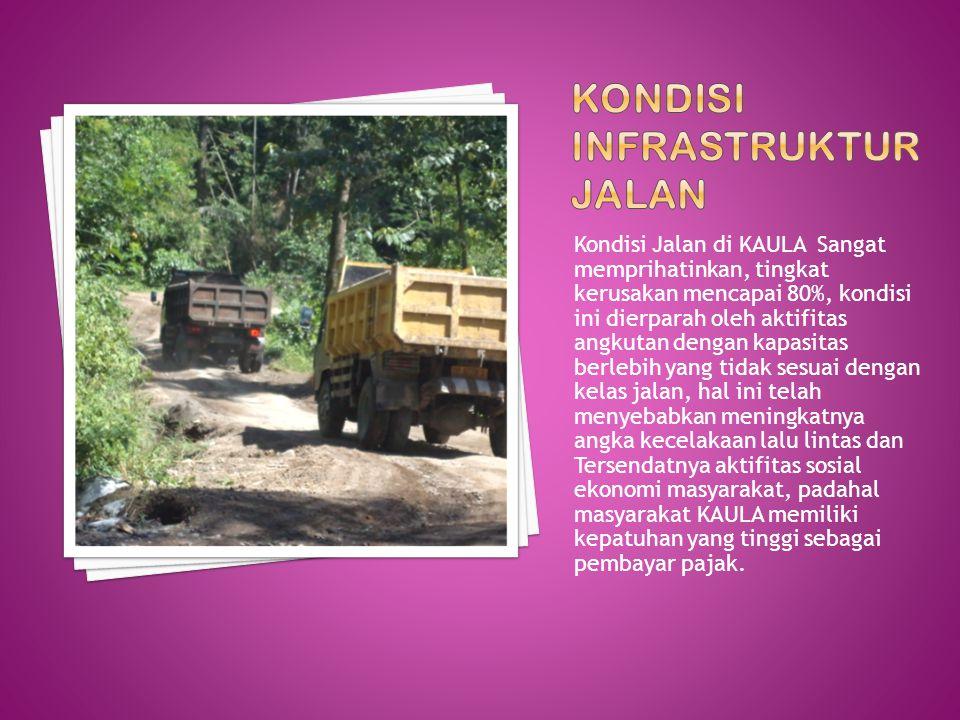 Kondisi Jalan di KAULA Sangat memprihatinkan, tingkat kerusakan mencapai 80%, kondisi ini dierparah oleh aktifitas angkutan dengan kapasitas berlebih
