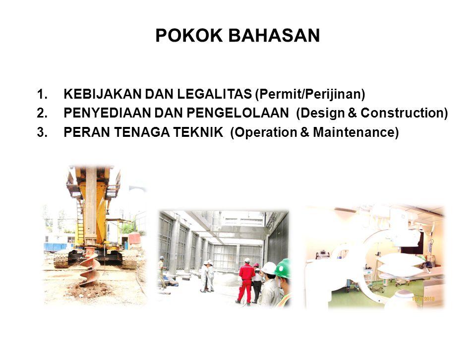 POKOK BAHASAN 1.KEBIJAKAN DAN LEGALITAS (Permit/Perijinan) 2.PENYEDIAAN DAN PENGELOLAAN (Design & Construction) 3.PERAN TENAGA TEKNIK (Operation & Maintenance)