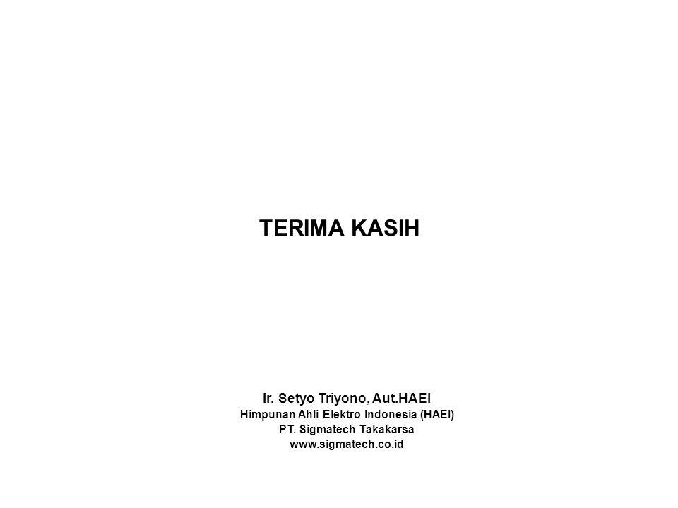 TERIMA KASIH Ir.Setyo Triyono, Aut.HAEI Himpunan Ahli Elektro Indonesia (HAEI) PT.