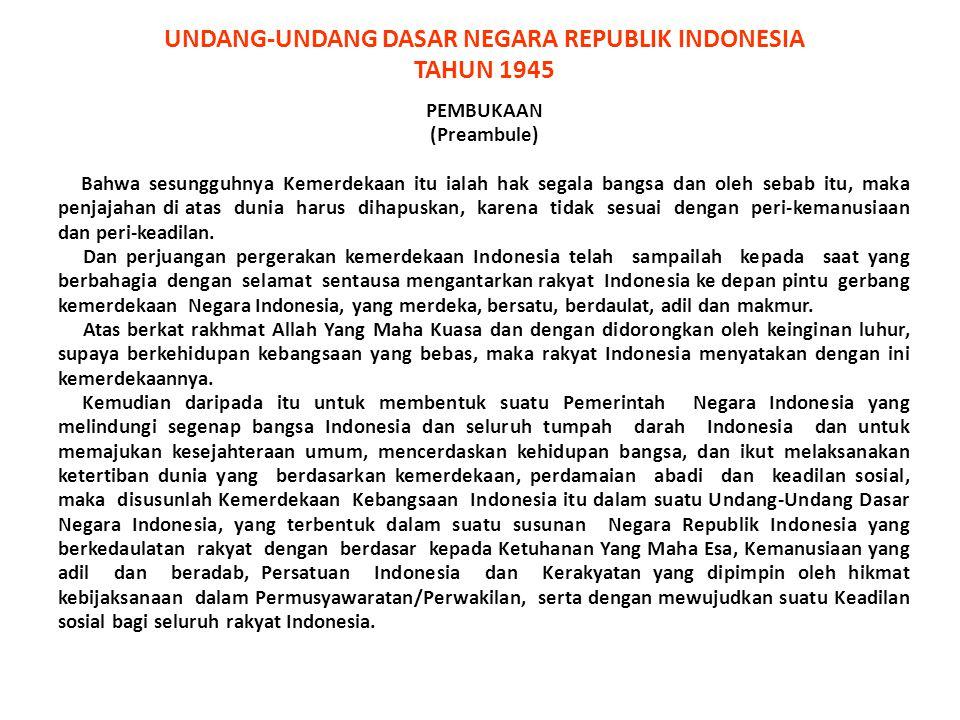 1.Ketuhanan Yang Maha Esa 2.Kemanusiaan yang adil dan beradab 3.Persatuan Indonesia 4.Kerakyatan yang dipimpin oleh hikmat kebijaksanaan dalam Permusyawaratan/ Perwakilan 5.Keadilan sosial bagi seluruh rakyat Indonesia PANCASILA