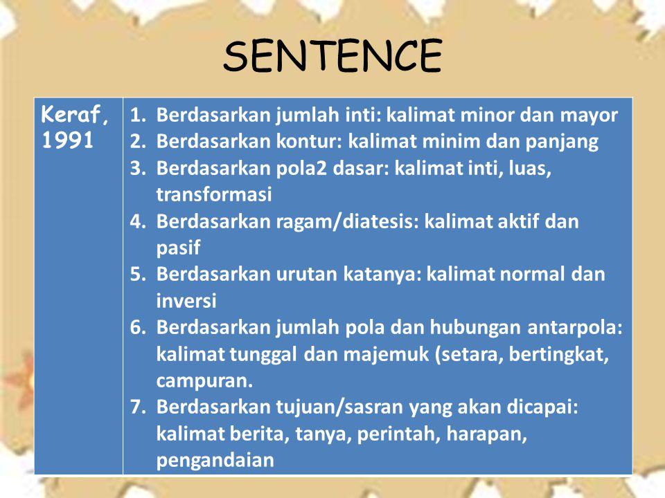 Keraf, 1991 1.Berdasarkan jumlah inti: kalimat minor dan mayor 2.Berdasarkan kontur: kalimat minim dan panjang 3.Berdasarkan pola2 dasar: kalimat inti