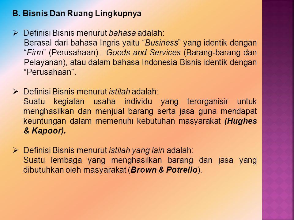 """B. Bisnis Dan Ruang Lingkupnya  Definisi Bisnis menurut bahasa adalah: Berasal dari bahasa Ingris yaitu """"Business"""" yang identik dengan """"Firm"""" (Perusa"""