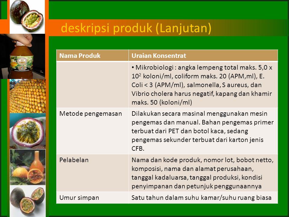 Deskripsi produk konsentrat produksi PBS Nama ProdukUraian Konsentrat Deskripsi umumProduk minuman sari buah yang terbuat dari buah markisa dengan ata